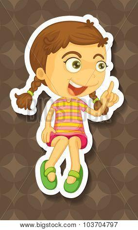 Little girl pointing her finger illustration