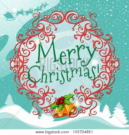 Merry Christmas sign with wreth illustration