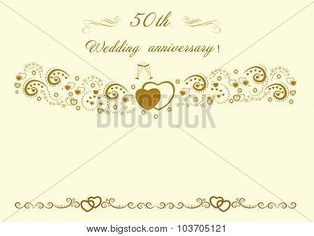 50th Wedding anniversary Invitation.Beautiful editable vector il