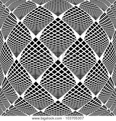 Design Warped Monochrome Checked Geometric Pattern