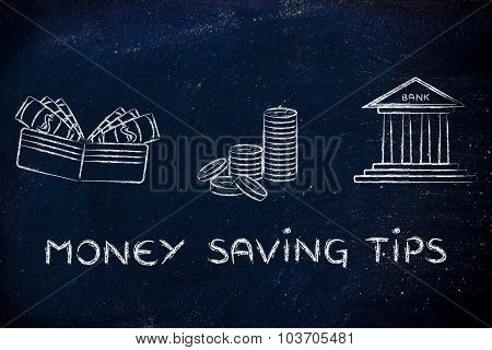Wallet, Coins And Bank: Concept Of Giving Advice On How To Save Money