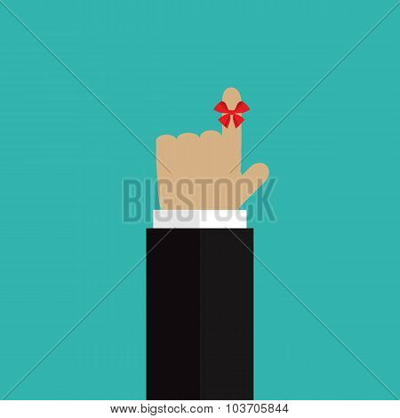The Ribbon On The Finger Reminder Turquoise Background