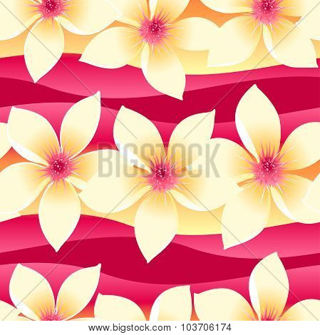 Yellow And Pink Tropical Floral Seamless Pattern On Wave Background