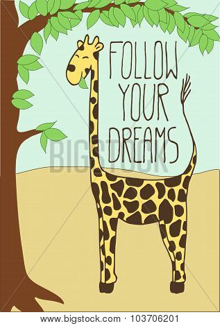 Cute Postcard With Cartoon Giraffe