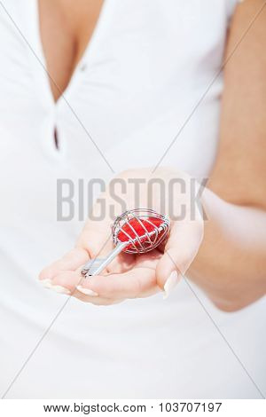 Woman Holding Heartshaped Key
