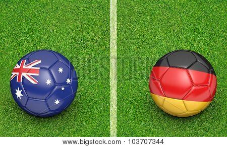 Team balls for Australia vs Germany soccer tournament match