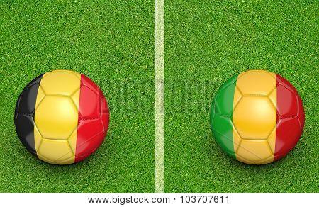 Team balls for Belgium vs Mali soccer tournament match