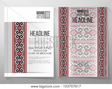 Business vector templates, brochure, flyer or booklet. Ukrainian folk art. Traditional national embr