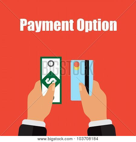 Illustration Of Different Types Payment In Cash And Card