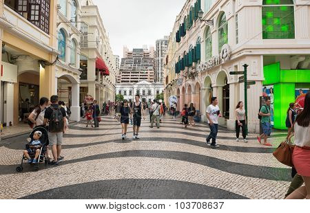 Macao - June 25, 2015: Historic Centre Of Macao-senado Square In Macao, China On June 25, 2015. The