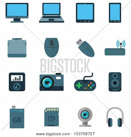 Set A Variety Of Techniques Devices In Flat Style