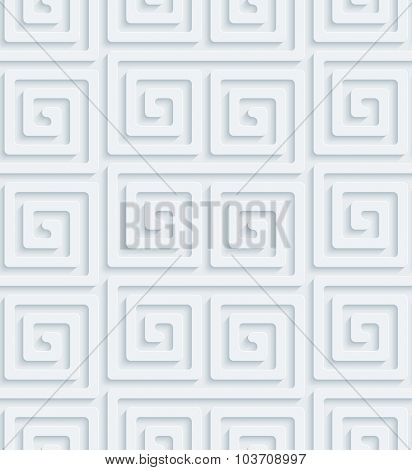 Classic Meander. White perforated paper with cut out effect. Abstract 3d seamless background.