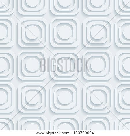 Circle and squares. White perforated paper with cut out effect. 3d seamless background.