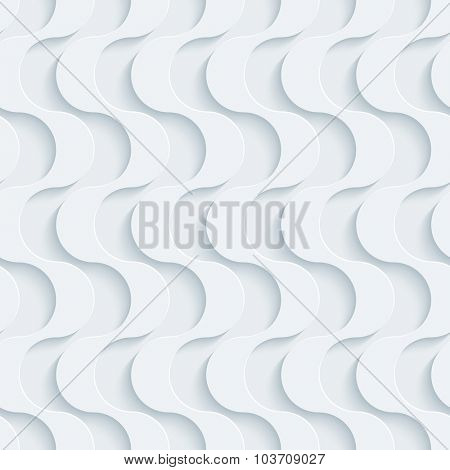 White perforated paper with cut out effect. Wavy 3d seamless background.