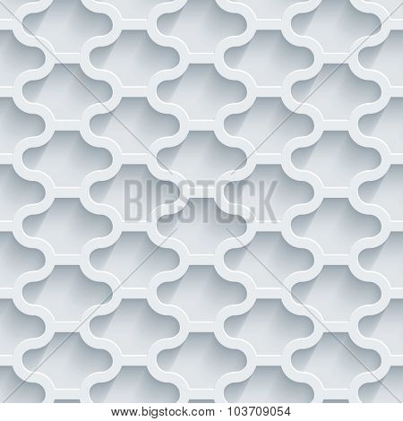 White perforated paper with cut out effect. Retro 3d seamless background.