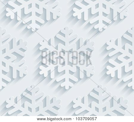 Snowflake pattern. 3d seamless background. White perforated paper with cut out effect.