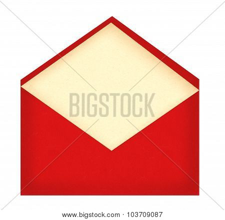Red Letter Envelope With Paper Card Isolated On White
