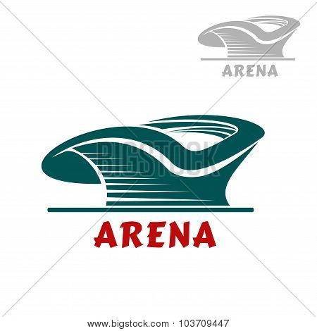 Sports stadium icon with curved shape
