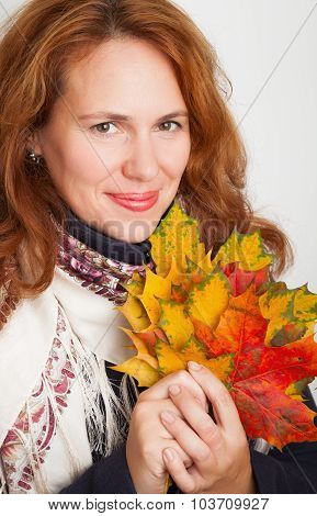 Russian Woman With Colorful Autumn Maple Leaves