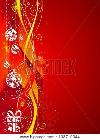 Grunge Red Christmas Background.