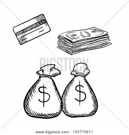 Credit card, dollar bills and money bags