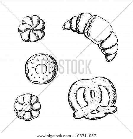 Croissant, pretzel, donut and sugar cookies