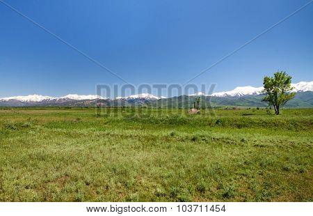 Mountain landscape. Tokmok, Kyrgyzstan
