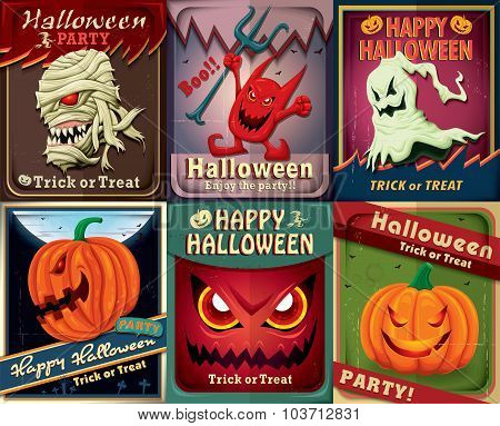 Vintage Halloween poster design set with mummy
