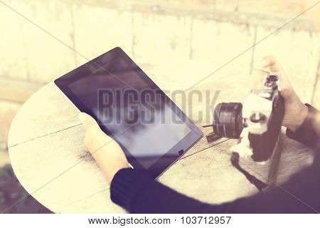Girl With Tablet And Old Style Camera, Vintage Photo Effect