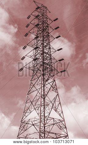 High Voltage Electricity Pylon, Monochromatic Tone
