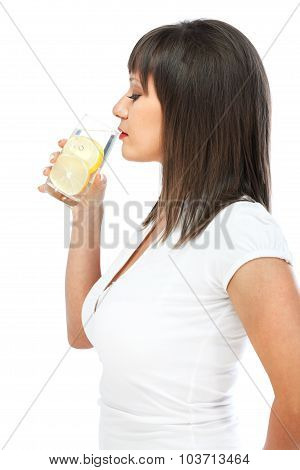 Woman Drinking Water With Lemon