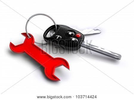 Car Keys With Spanner Icon As Keyring. Car Service And Repair.
