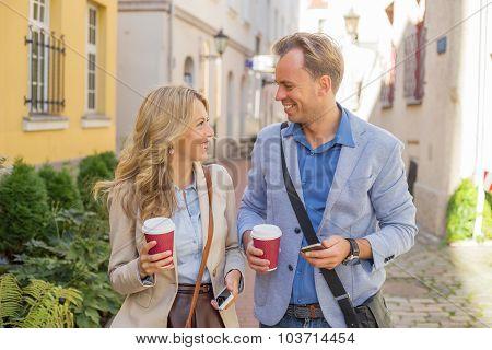 Man and woman having a fun conversation