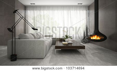 Interior of modern design room with fireplace 3D rendering