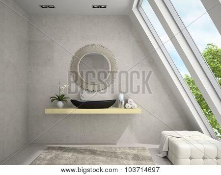 Interior of mansard bathroom with round mirror 3D rendering