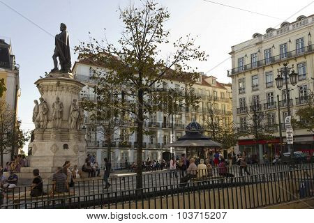 Largo Camoes Square In Lisbon
