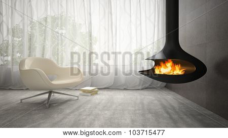 Part of interior with fireplace and armchair 3D rendering