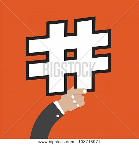 Number Sign In Hand Vector Illustration.