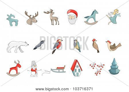 Set of different vintage Christmas decorations isolated on white. Simple colors. For Christmas design, announcements, postcards, posters.