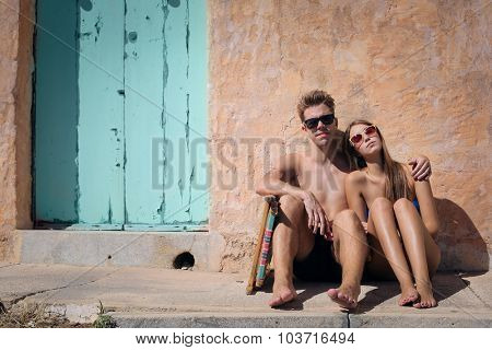Young couple at the seaside