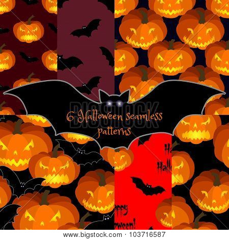 Set of Halloween seamless backgrounds.