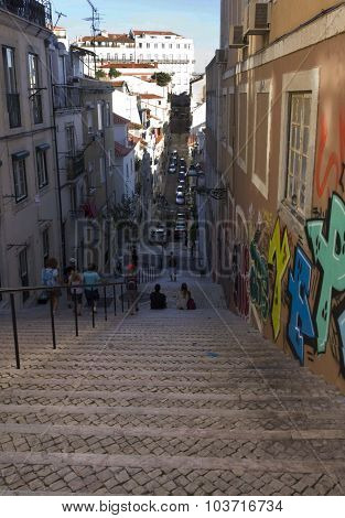 Deep Slope Stairway In Baixa Quartier