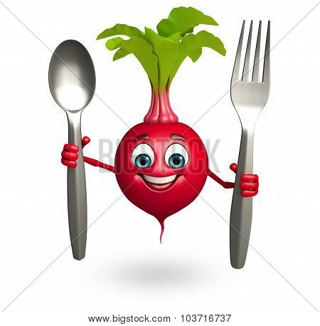 Cartoon Character Of Beet Root With Spoon