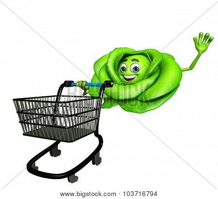 Cartoon Character Of Cabbage With Trolley