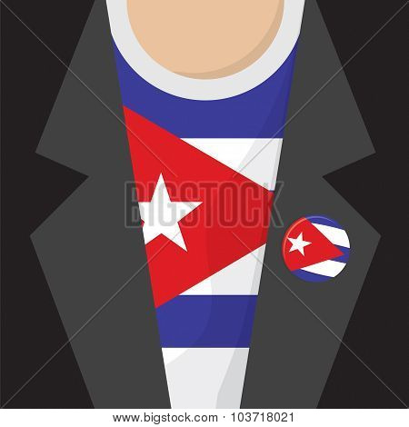 T-shirt With Cuba Flag Vector Illustration.