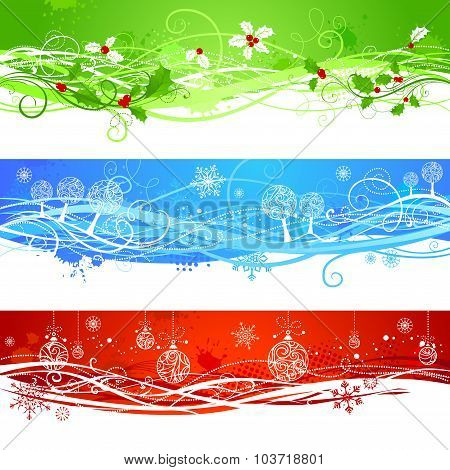 Three Christmas Banners.