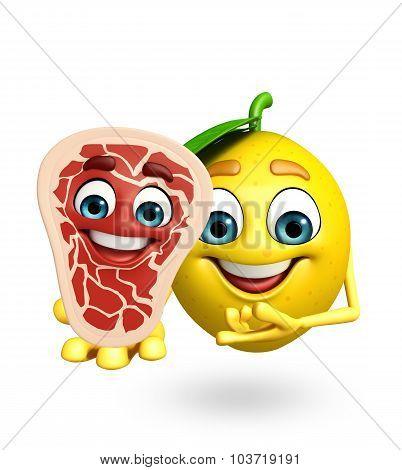 Cartoon Character Of Lemon With Meat Steak