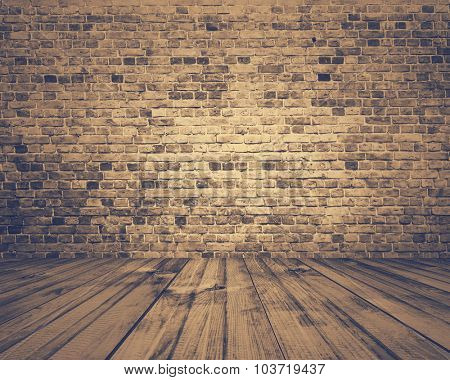 old room with brick wall, grey vintage background, retro film filtered, instagram style