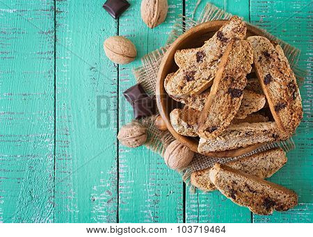 Italian biscotti cookies with nuts and chocolate chips