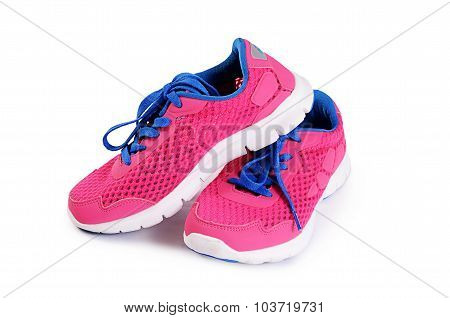 Children's Stylish Sneakers Isolated On White